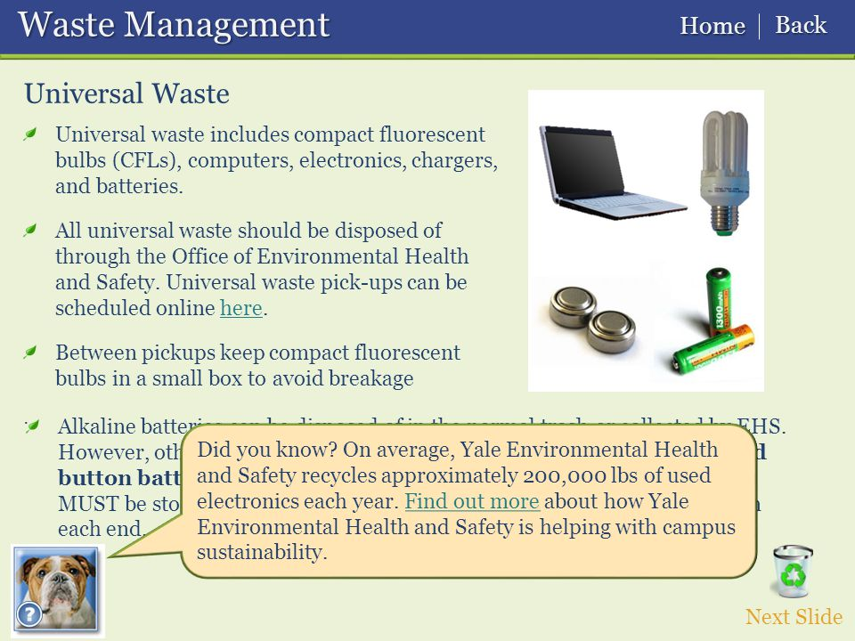 Waste Management Waste Management Universal Waste Universal waste includes compact fluorescent bulbs (CFLs), computers, electronics, chargers, and batteries.