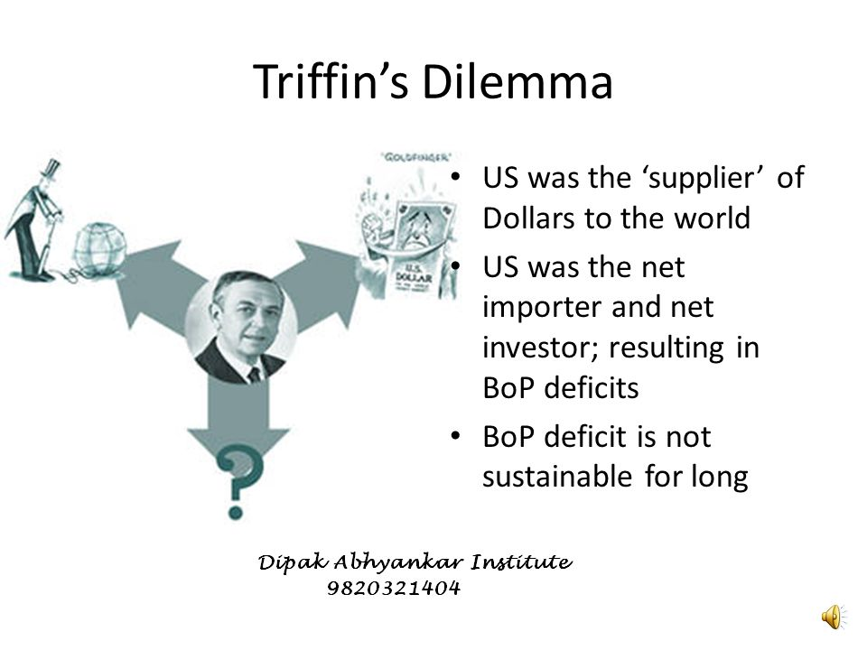Robert Triffin Professor Robert Triffin first identified a problem with the fixed parity (Bretton woods) system Belgian-American economist Robert Triffin, who first identified the problem in 1960.