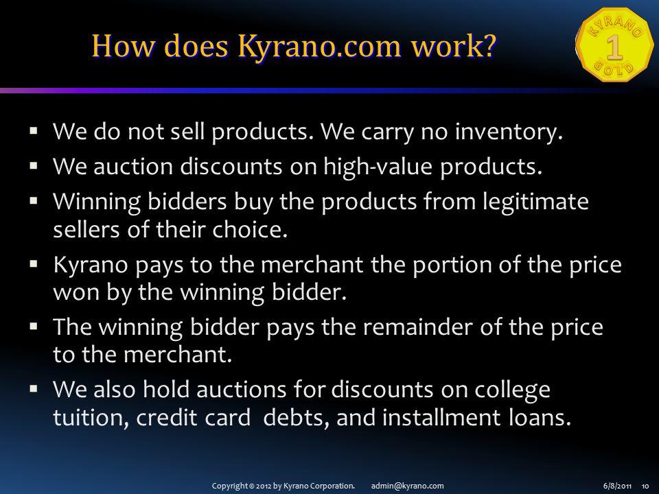 Copyright © 2012 by Kyrano Corporation. admin@kyrano.com6/8/2011 10 How does Kyrano.com work.