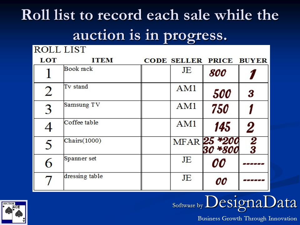 Roll list to record each sale while the auction is in progress. Software by DesignaData Business Growth Through Innovation
