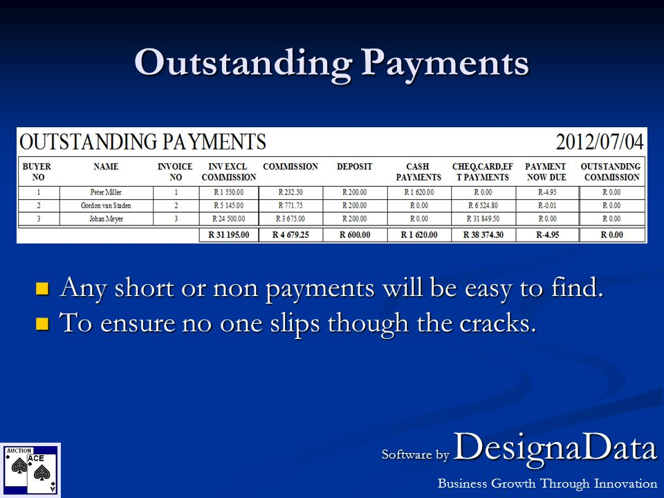 Outstanding Payments Any short or non payments will be easy to find. Any short or non payments will be easy to find. To ensure no one slips though the