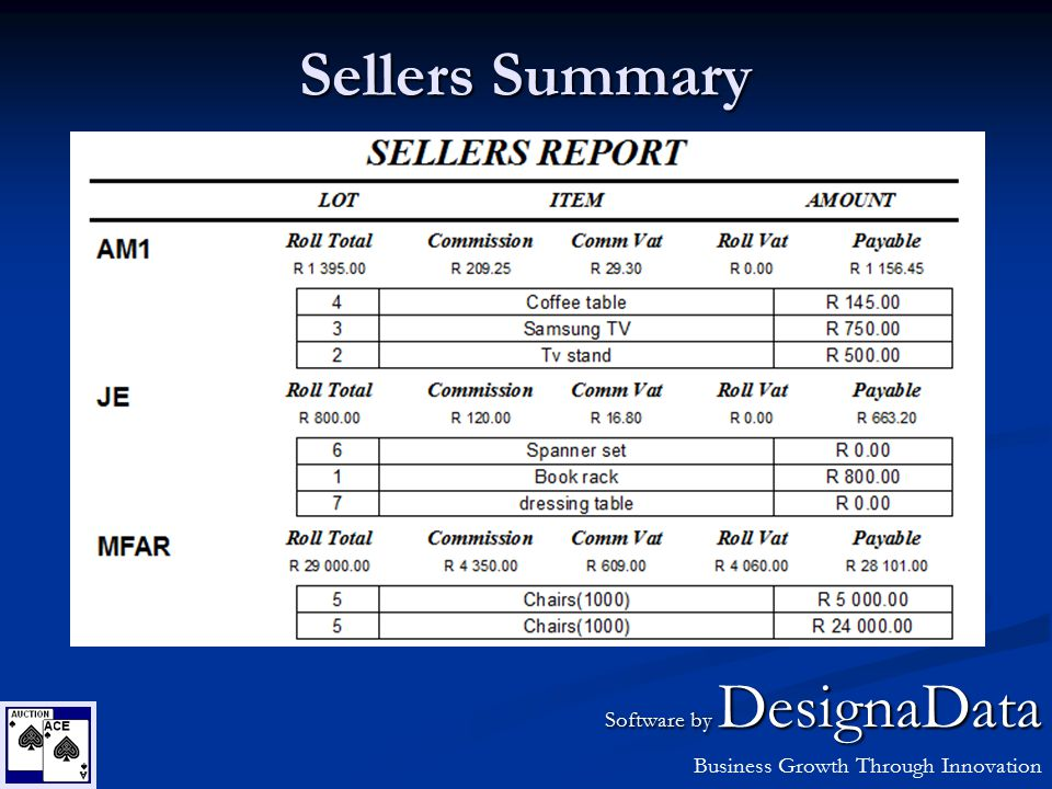 Sellers Summary Software by DesignaData Business Growth Through Innovation