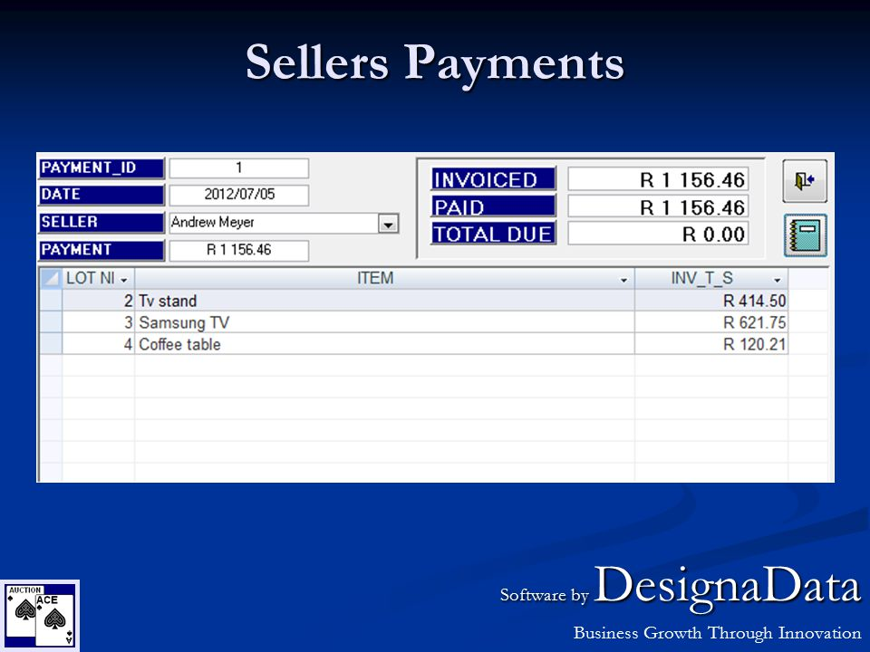Sellers Payments Software by DesignaData Business Growth Through Innovation