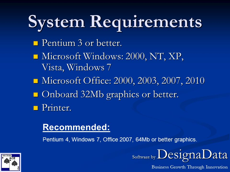 System Requirements Pentium 3 or better. Pentium 3 or better. Microsoft Windows: 2000, NT, XP, Vista, Windows 7 Microsoft Windows: 2000, NT, XP, Vista