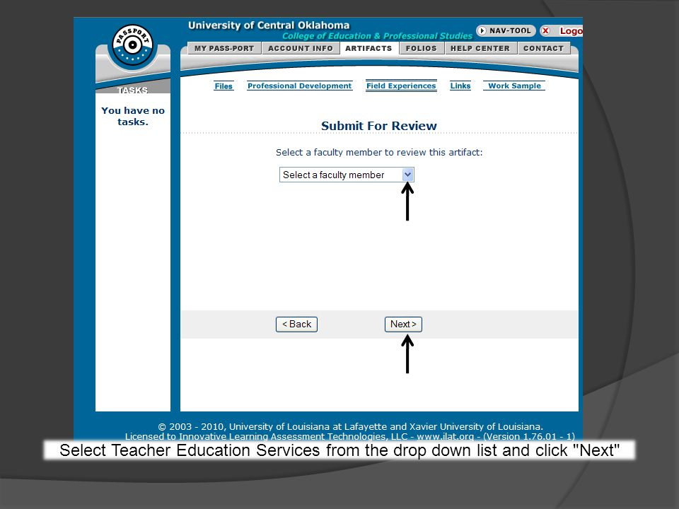 Select Teacher Education Services from the drop down list and click Next