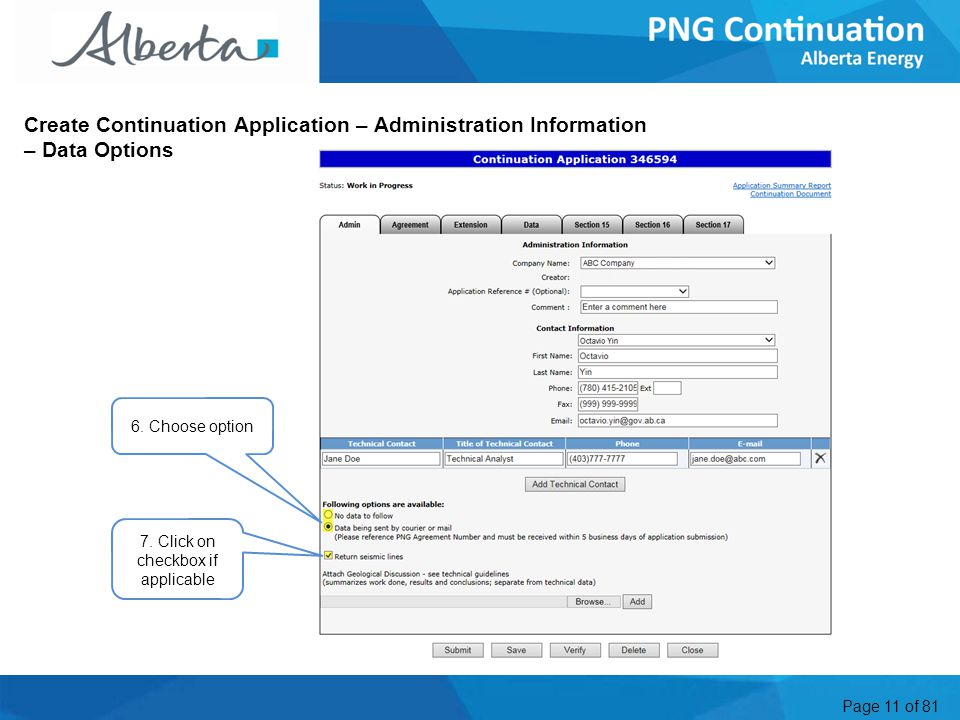 Page 11 of 81 Create Continuation Application – Administration Information – Data Options 6.