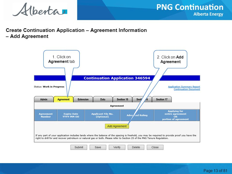 Page 13 of 81 Create Continuation Application – Agreement Information – Add Agreement 2.