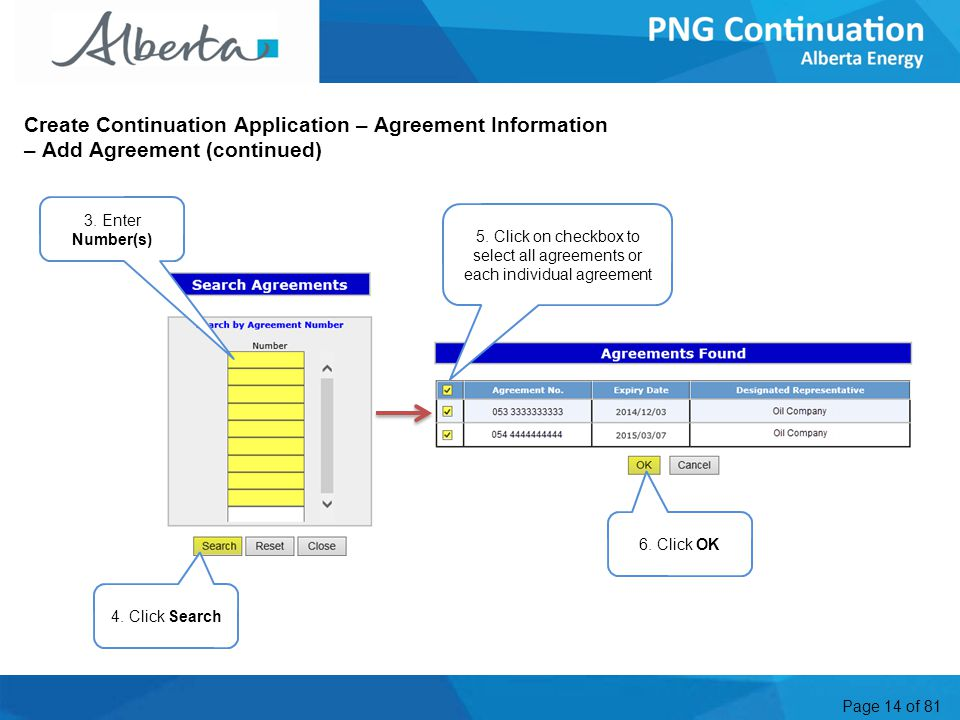 Page 14 of 81 Create Continuation Application – Agreement Information – Add Agreement (continued) 3.