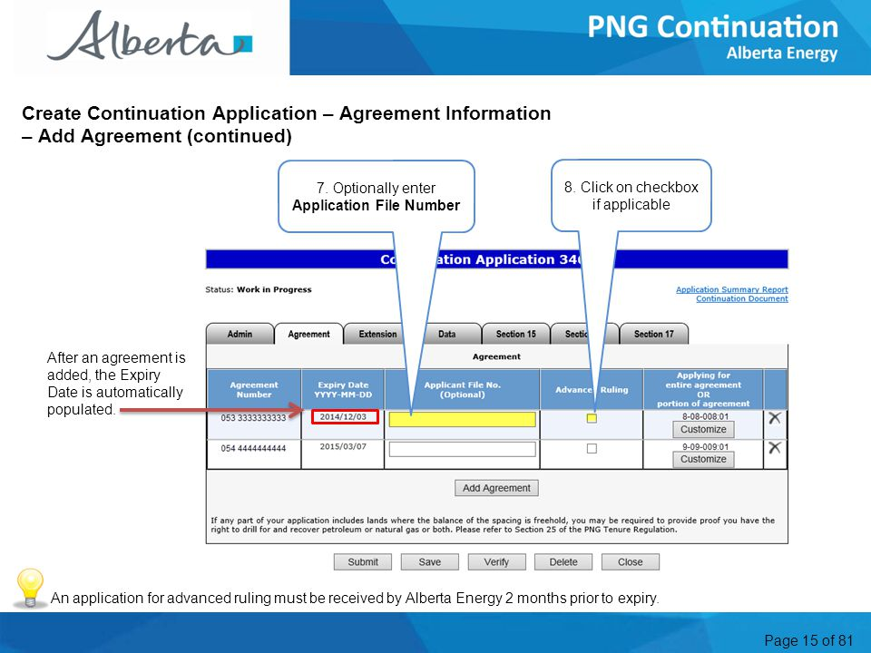 Page 15 of 81 Create Continuation Application – Agreement Information – Add Agreement (continued) 7.