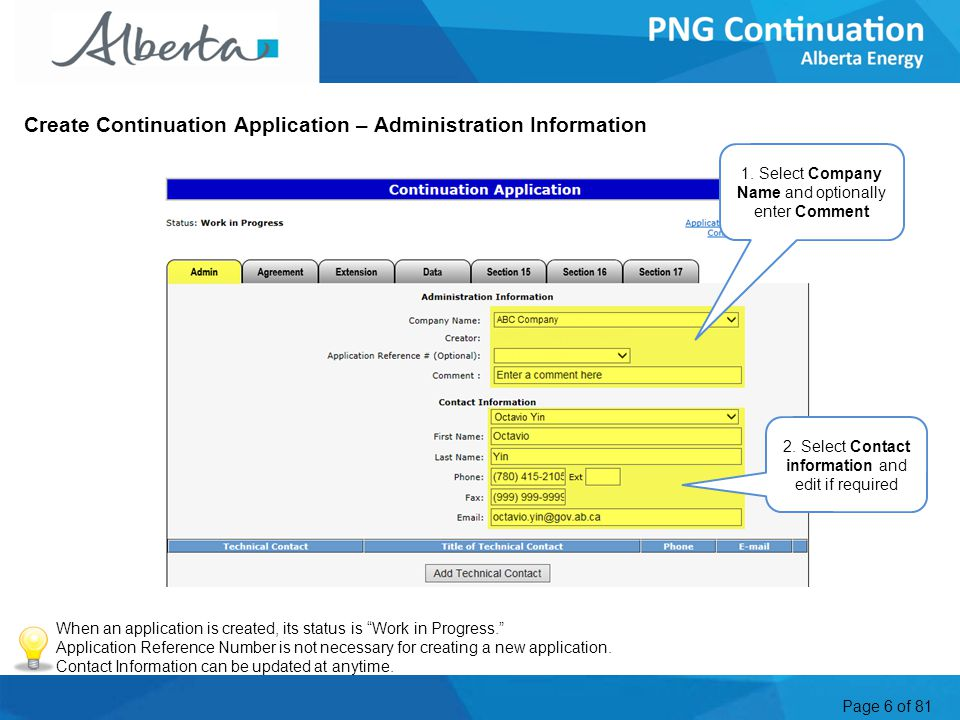 Page 6 of 81 Create Continuation Application – Administration Information 1.