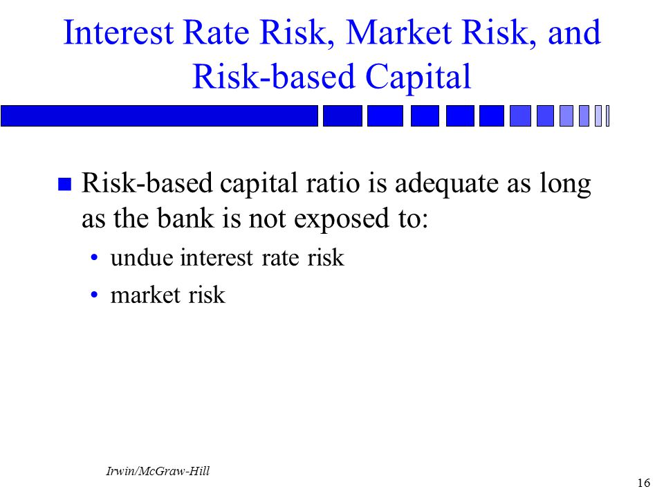Irwin/McGraw-Hill 16 Interest Rate Risk, Market Risk, and Risk-based Capital n Risk-based capital ratio is adequate as long as the bank is not exposed to: undue interest rate risk market risk