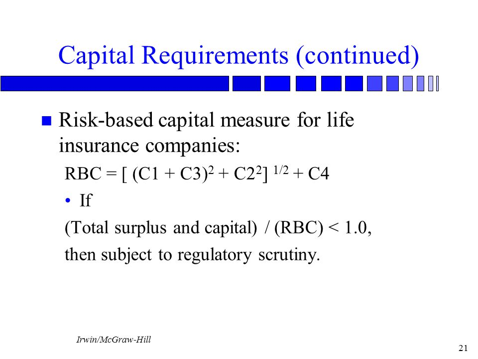 Irwin/McGraw-Hill 21 Capital Requirements (continued) n Risk-based capital measure for life insurance companies: RBC = [ (C1 + C3) 2 + C2 2 ] 1/2 + C4 If (Total surplus and capital) / (RBC) < 1.0, then subject to regulatory scrutiny.