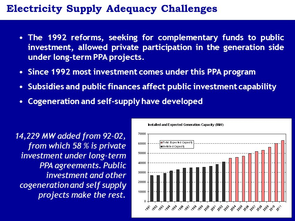11 Electricity Supply Adequacy Challenges The 1992 reforms, seeking for complementary funds to public investment, allowed private participation in the