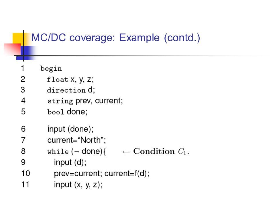 MC/DC coverage: Example (contd.)