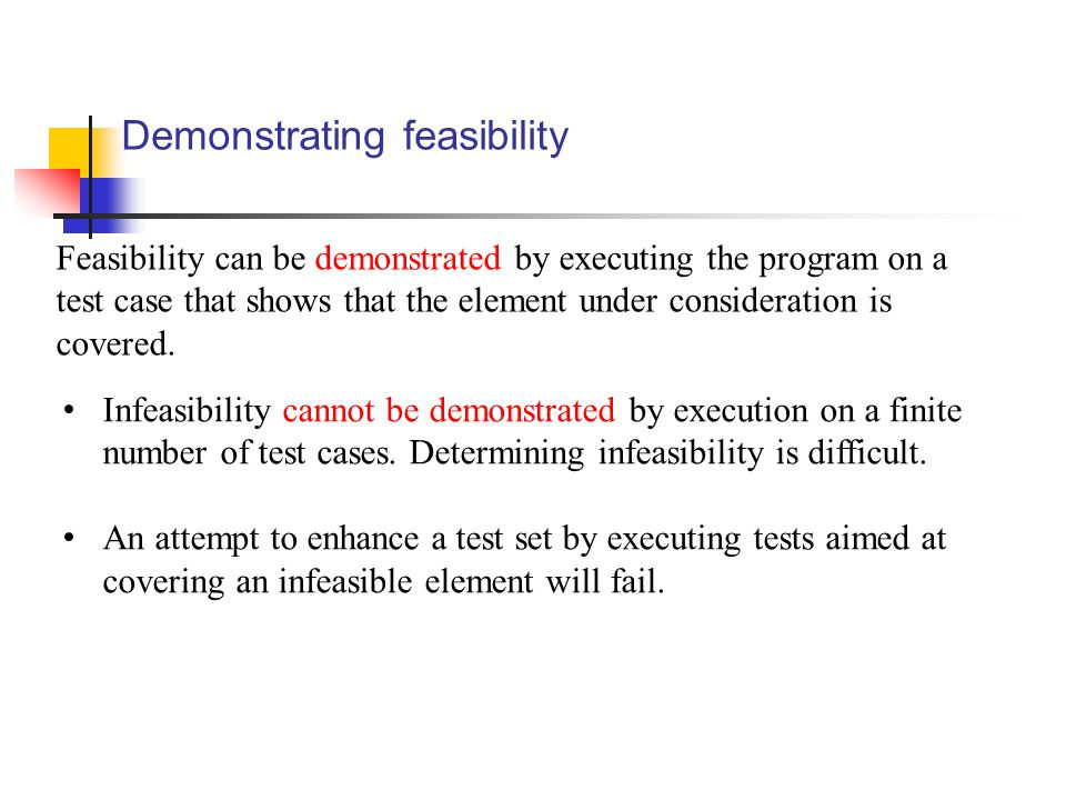 Demonstrating feasibility Feasibility can be demonstrated by executing the program on a test case that shows that the element under consideration is covered.