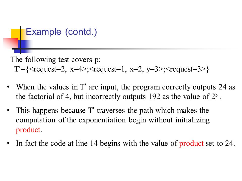 Example (contd.) The following test covers p: T'={ ; ; } When the values in T' are input, the program correctly outputs 24 as the factorial of 4, but incorrectly outputs 192 as the value of 2 3.