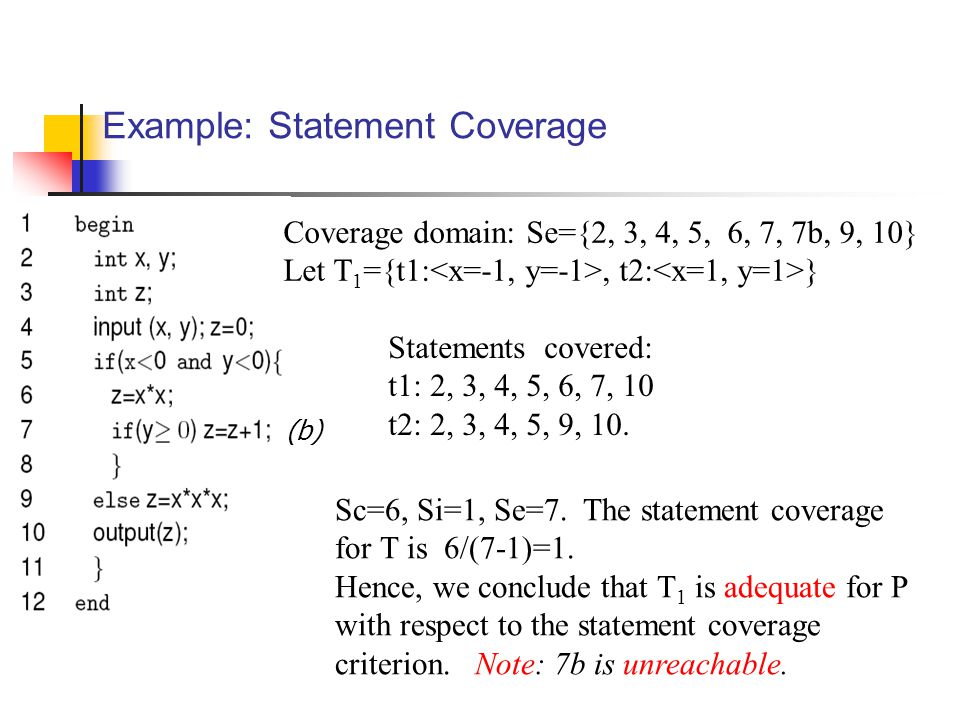 Example: Statement Coverage Statements covered: t1: 2, 3, 4, 5, 6, 7, 10 t2: 2, 3, 4, 5, 9, 10.