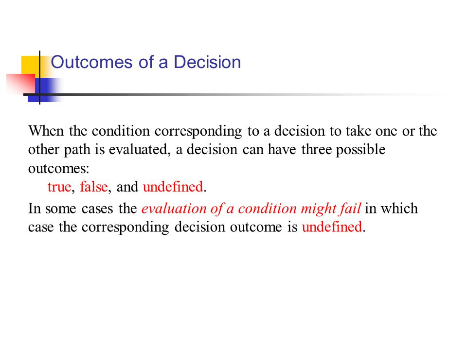 Outcomes of a Decision When the condition corresponding to a decision to take one or the other path is evaluated, a decision can have three possible outcomes: true, false, and undefined.