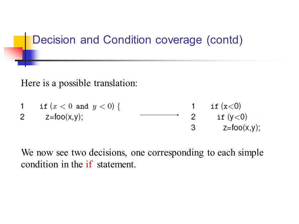 Decision and Condition coverage (contd) We now see two decisions, one corresponding to each simple condition in the if statement. Here is a possible t