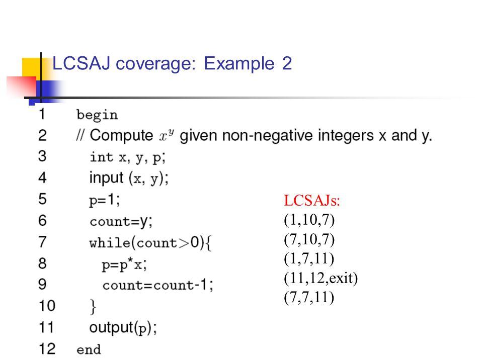 LCSAJ coverage: Example 2 LCSAJs: (1,10,7) (7,10,7) (1,7,11) (11,12,exit) (7,7,11)
