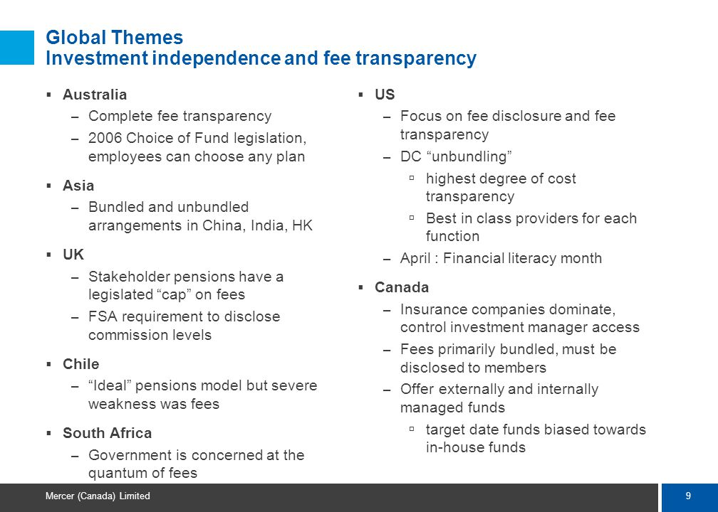9 Mercer (Canada) Limited Global Themes Investment independence and fee transparency  Australia – Complete fee transparency – 2006 Choice of Fund legislation, employees can choose any plan  Asia – Bundled and unbundled arrangements in China, India, HK  UK – Stakeholder pensions have a legislated cap on fees – FSA requirement to disclose commission levels  Chile – Ideal pensions model but severe weakness was fees  South Africa – Government is concerned at the quantum of fees  US – Focus on fee disclosure and fee transparency – DC unbundling  highest degree of cost transparency  Best in class providers for each function – April : Financial literacy month  Canada – Insurance companies dominate, control investment manager access – Fees primarily bundled, must be disclosed to members – Offer externally and internally managed funds  target date funds biased towards in-house funds