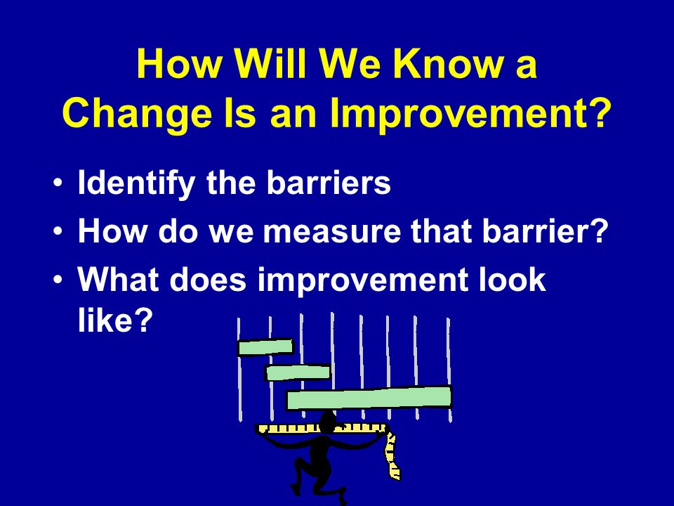 How Will We Know a Change Is an Improvement. Identify the barriers How do we measure that barrier.