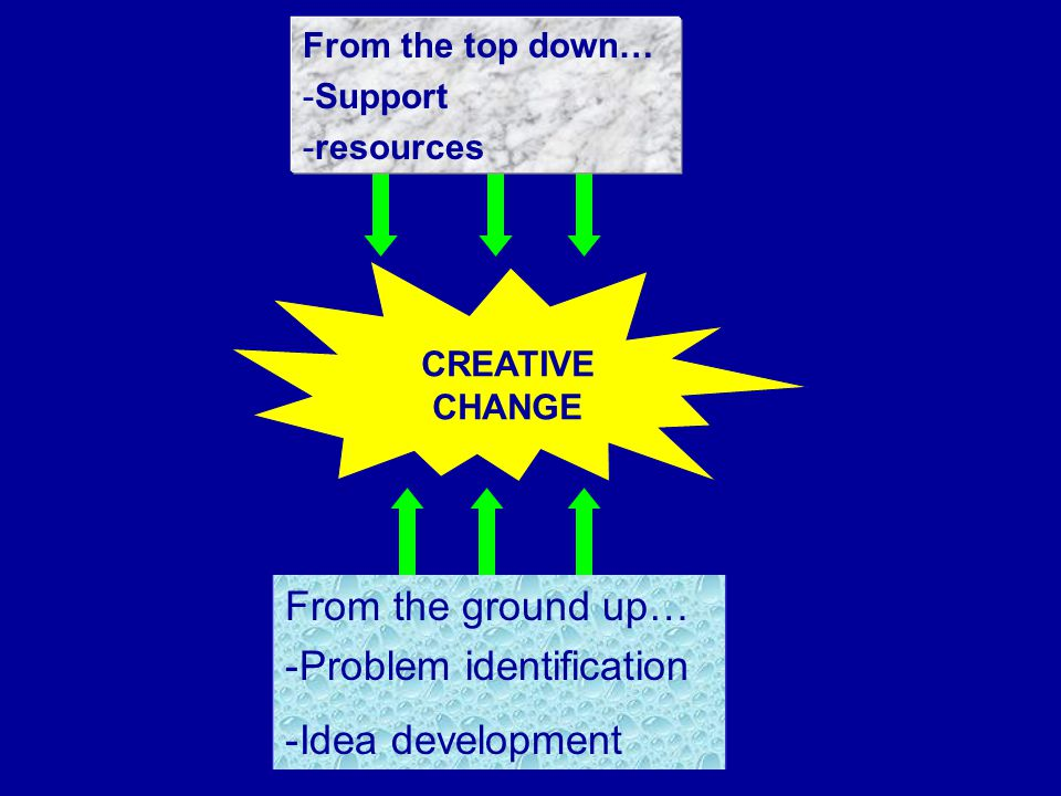 CREATIVE CHANGE From the ground up… -Problem identification -Idea development From the top down… -Support -resources