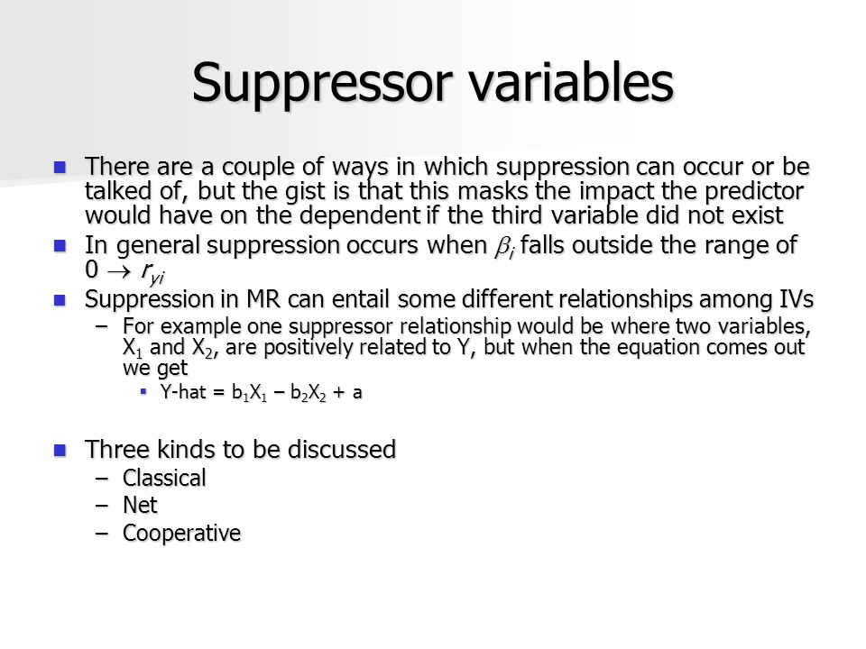 Suppressor variables There are a couple of ways in which suppression can occur or be talked of, but the gist is that this masks the impact the predict