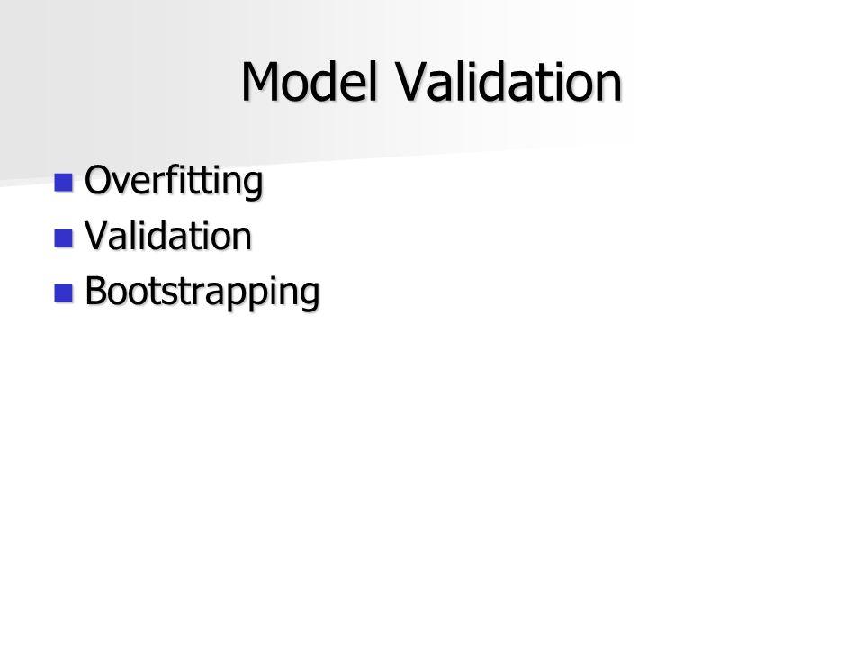 Model Validation Overfitting Overfitting Validation Validation Bootstrapping Bootstrapping