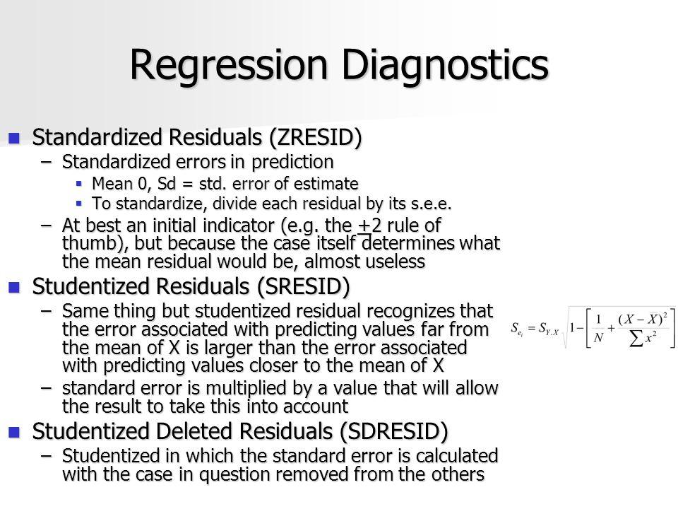 Regression Diagnostics Standardized Residuals (ZRESID) Standardized Residuals (ZRESID) –Standardized errors in prediction  Mean 0, Sd = std.