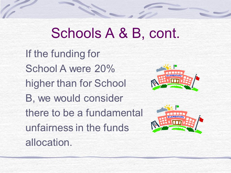 Schools A & B, cont. If the funding for School A were 20% higher than for School B, we would consider there to be a fundamental unfairness in the fund