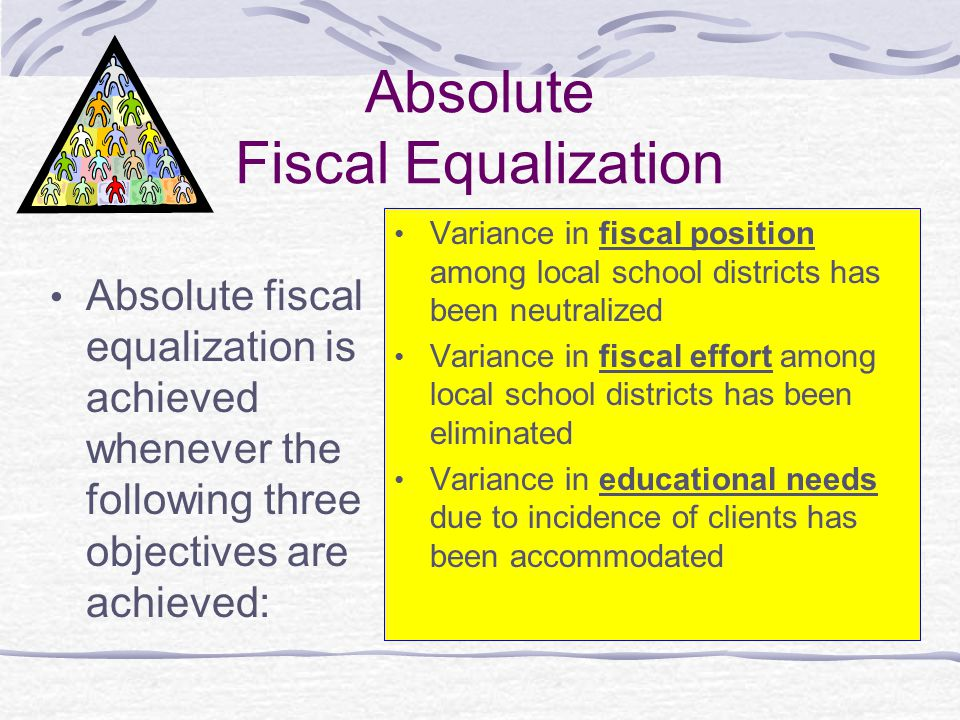 Absolute Fiscal Equalization Absolute fiscal equalization is achieved whenever the following three objectives are achieved: Variance in fiscal positio