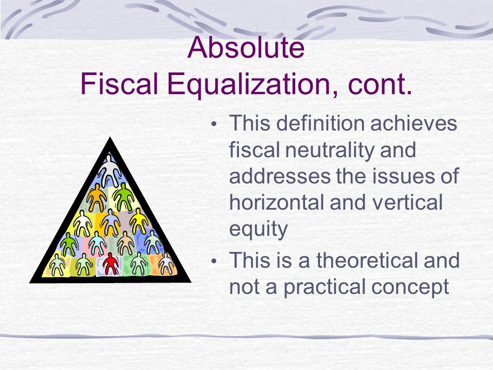 Absolute Fiscal Equalization, cont. This definition achieves fiscal neutrality and addresses the issues of horizontal and vertical equity This is a th