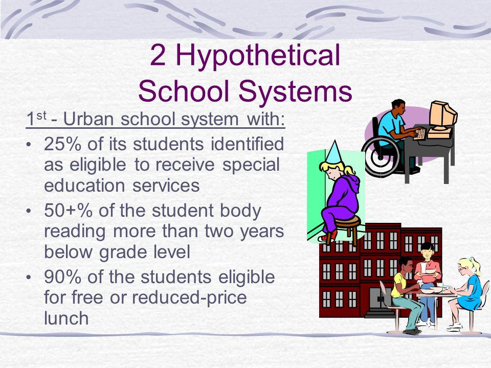 2 Hypothetical School Systems 1 st - Urban school system with: 25% of its students identified as eligible to receive special education services 50+% of the student body reading more than two years below grade level 90% of the students eligible for free or reduced-price lunch