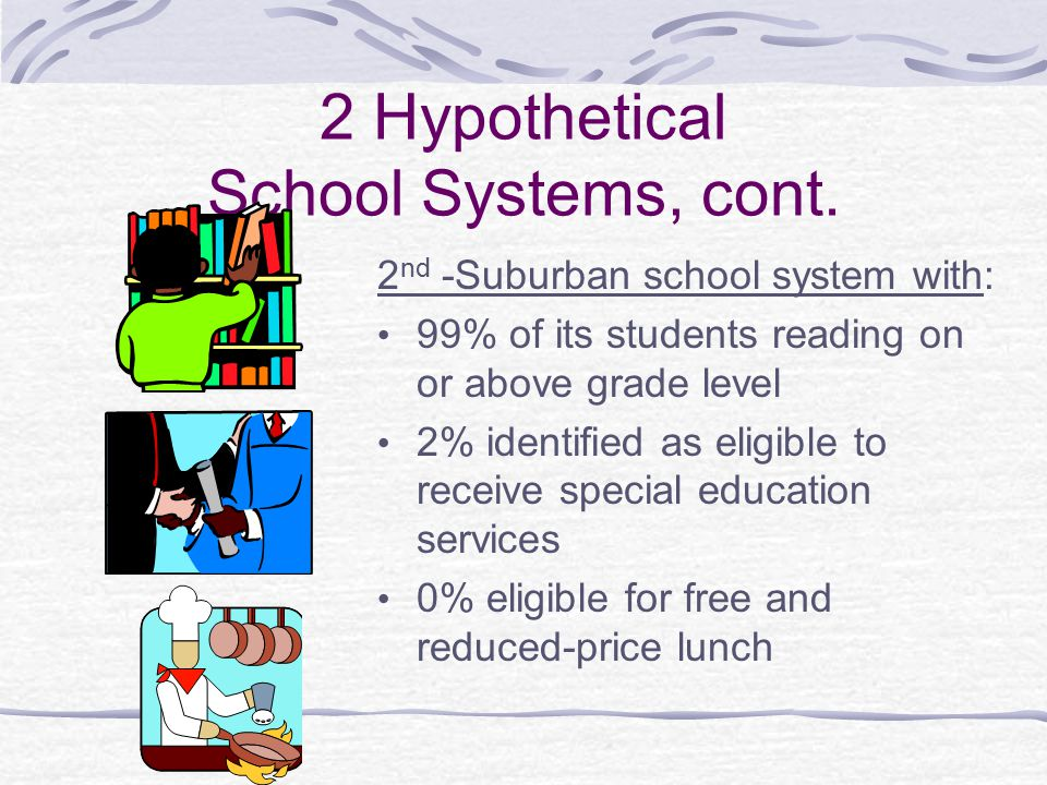 2 Hypothetical School Systems, cont. 2 nd -Suburban school system with: 99% of its students reading on or above grade level 2% identified as eligible