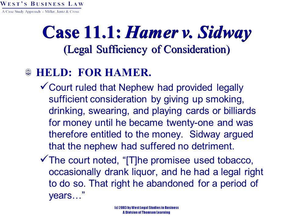 HELD: FOR HAMER.