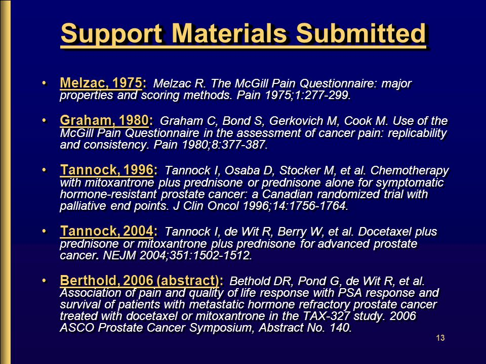 13 Support Materials Submitted Melzac, 1975: Melzac R.