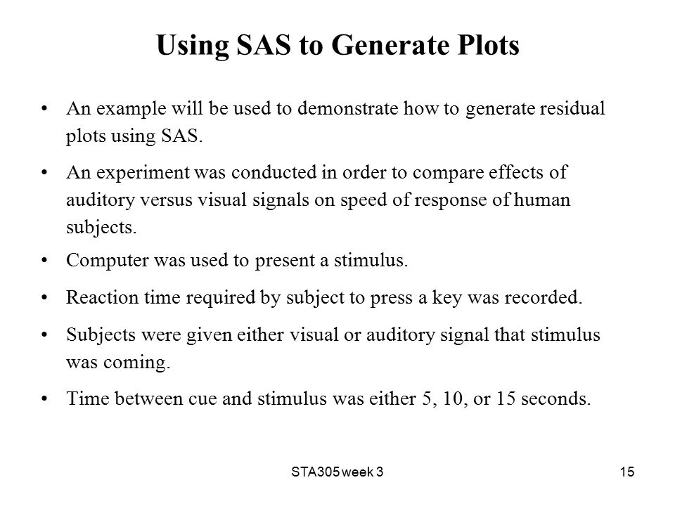 STA305 week 315 Using SAS to Generate Plots An example will be used to demonstrate how to generate residual plots using SAS.