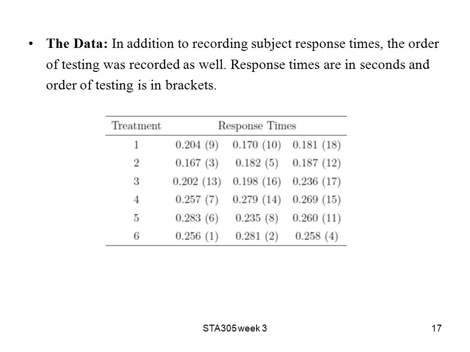 STA305 week 317 The Data: In addition to recording subject response times, the order of testing was recorded as well.