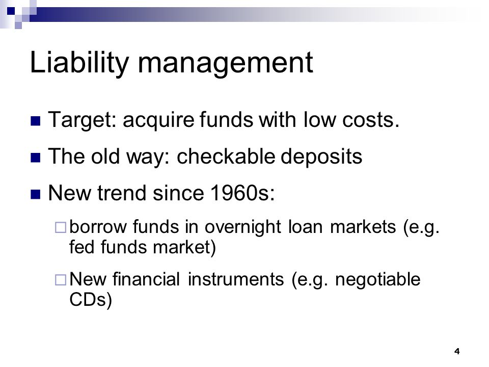 Duration analysis - example Suppose: Bank assets is $100M and liabilities is $90M duration of bank assets is 3 years duration of liabilities is 2 years; Now: interest rate increase 5%, Calculate: %  assets = –5%  3 = –15% %  liabilities = –5%  2 = –10% assets value decrease  $15M, liabilities decrease $9M bank's net worth decrease $6M 15