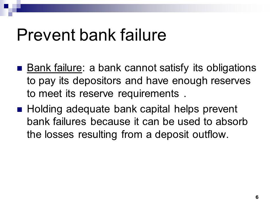 7 High Bank CapitalLow Bank Capital AssetsLiabilitiesAssetsLiabilities Reserves$10MDeposits$90MReserves$10MDeposits$96M Loans$90MBank Capital$10MLoans$90MBank Capital$4M High Bank CapitalLow Bank Capital AssetsLiabilitiesAssetsLiabilities Reserves$10MDeposits$90MReserves$10MDeposits$96M Loans$85MBank Capital$5MLoans$85MBank Capital-$1M insolvent: liabilities > assets  neg.