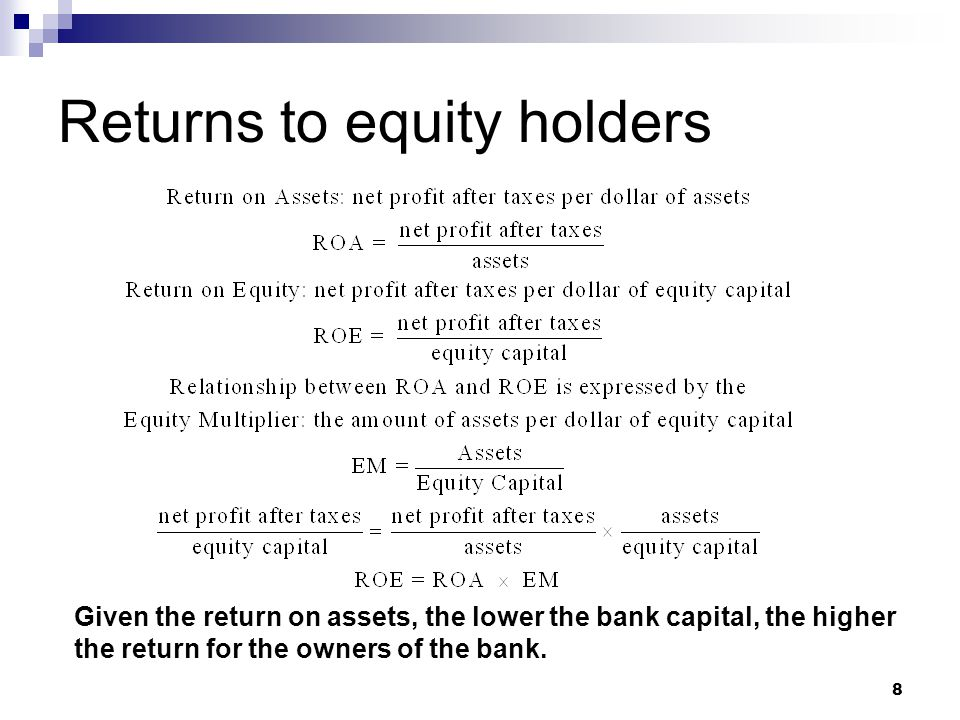 9 Safety – ROE tradeoff Increase bank capital is: benefit to the owners of a bank by making their investment safe (avoid bank failure).