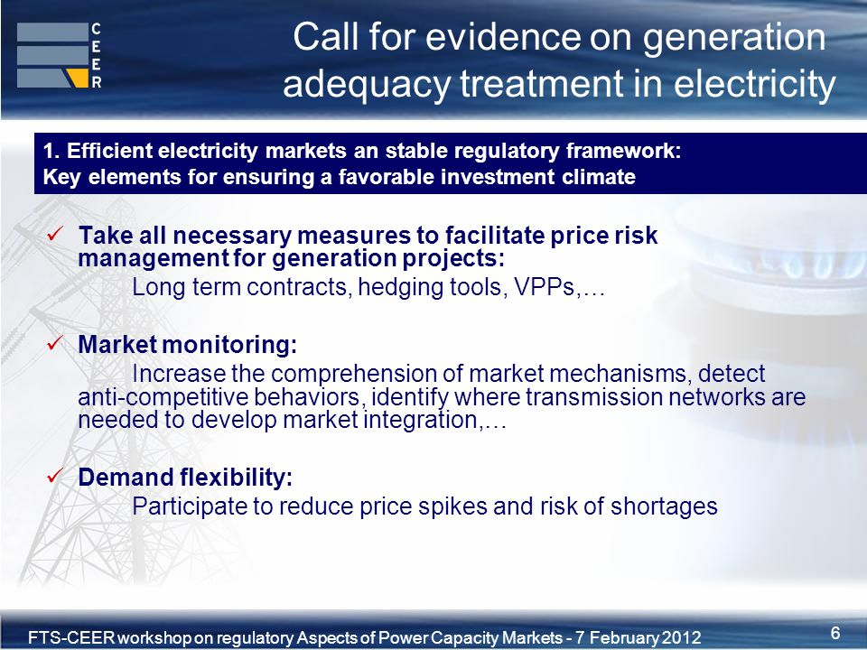 7XVIII Florence Forum, 10-11 June 2010 FTS-CEER workshop on regulatory Aspects of Power Capacity Markets - 7 February 2012 7 Call for evidence on generation adequacy treatment in electricity Environmental risks detrimental to investment: risks originating from uncertain environmental objectives and goals (CO2 targets, technical standards for industrial emissions,…) Regulated energy tariffs: CEER proposed progressive ending of regulated tariffs as they distort the market and jeopardize security of supply Price spikes: Measures like price caps need to be minimized to ensure maximum effectiveness of the market Delays to build new power plants and reinforce grid: Shortening of authorisation procedures and delays to grid reinforcements 2.