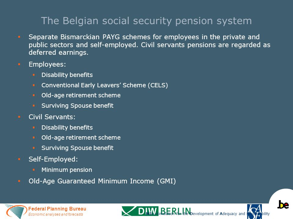 Federal Planning Bureau Economic analyses and forecasts The Belgian social security pension system   Separate Bismarckian PAYG schemes for employees