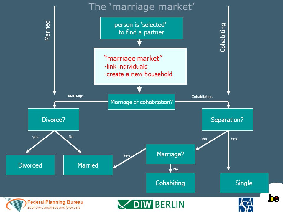 Federal Planning Bureau Economic analyses and forecasts The 'marriage market' person is 'selected' to find a partner marriage market -link individuals -create a new household Marriage or cohabitation.