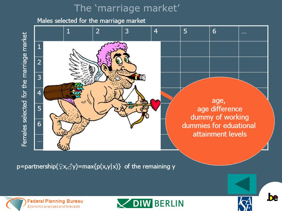 Federal Planning Bureau Economic analyses and forecasts The 'marriage market' 123456… 1 p(1,1)p(1,2)p(1,3) … 2 p(2,1)p(2,2)p(2,3) … 3 p(3,1)p(3,2)p(3,3) … 4………… 5 6 … Males selected for the marriage market Females selected for the marriage market age, age difference dummy of working dummies for eduational attainment levels p=partnership( ♀ x, ♂ y)=max{p(x,y|x)} of the remaining y