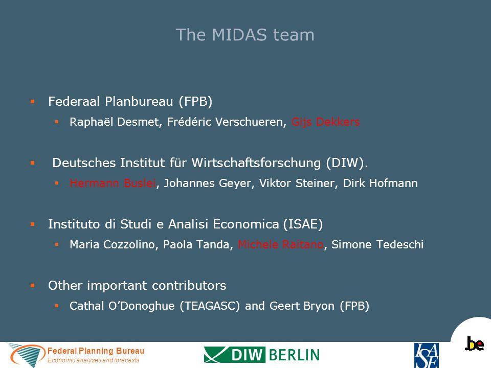 Federal Planning Bureau Economic analyses and forecasts The MIDAS team   Federaal Planbureau (FPB)   Raphaël Desmet, Frédéric Verschueren, Gijs Dekkers   Deutsches Institut für Wirtschaftsforschung (DIW).