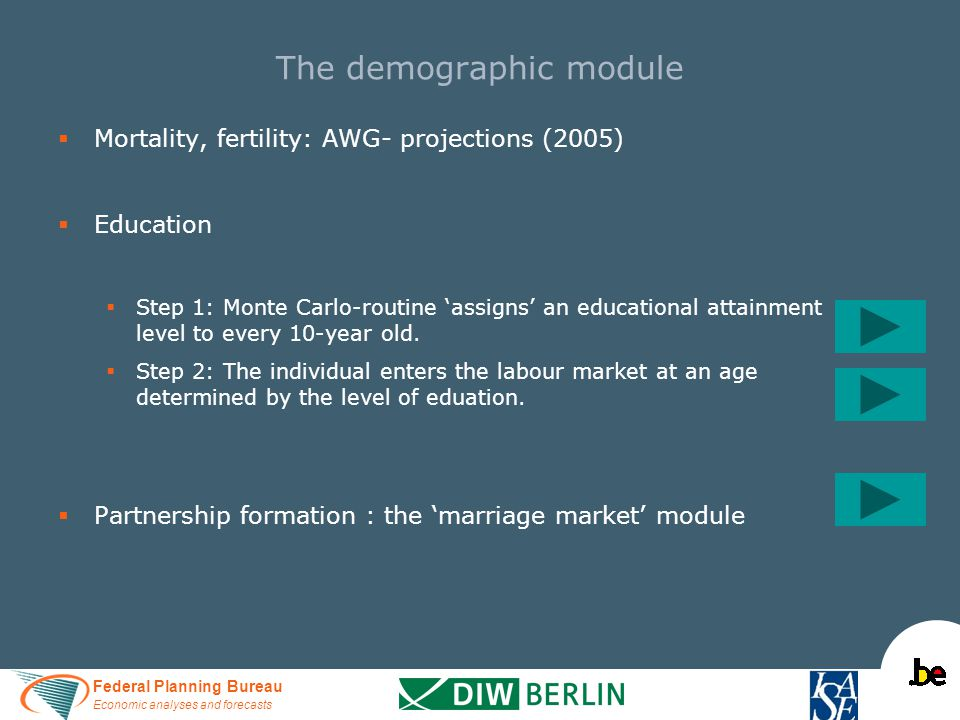 Federal Planning Bureau Economic analyses and forecasts   Mortality, fertility: AWG- projections (2005)   Education   Step 1: Monte Carlo-routin