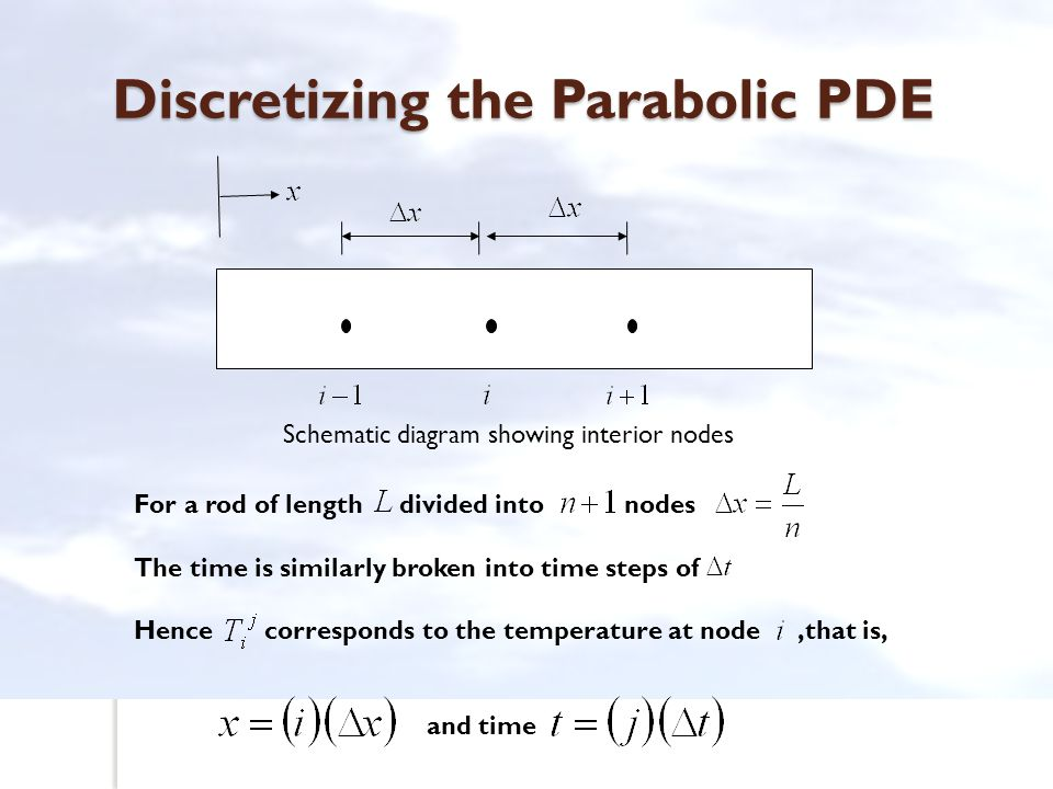 Discretizing the Parabolic PDE Schematic diagram showing interior nodes For a rod of length divided into nodes The time is similarly broken into time