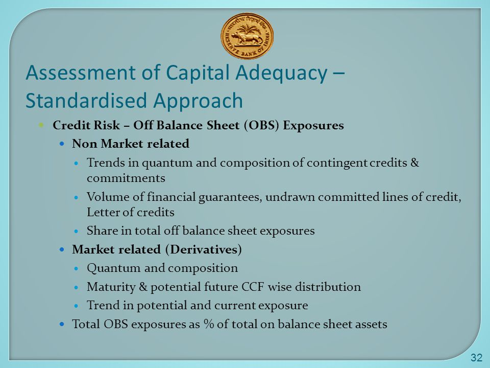32 Assessment of Capital Adequacy – Standardised Approach Credit Risk – Off Balance Sheet (OBS) Exposures Non Market related Trends in quantum and composition of contingent credits & commitments Volume of financial guarantees, undrawn committed lines of credit, Letter of credits Share in total off balance sheet exposures Market related (Derivatives) Quantum and composition Maturity & potential future CCF wise distribution Trend in potential and current exposure Total OBS exposures as % of total on balance sheet assets